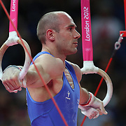 Matteo Morandi, Italy, in action winning the Bronze Medal in the Gymnastics Artistic, Men's Apparatus, Rings Final at the London 2012 Olympic games. London, UK. 6th August 2012. Photo Tim Clayton