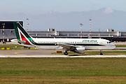 Alitalia Airbus A320-216. Photographed at Malpensa airport, Milan, Italy