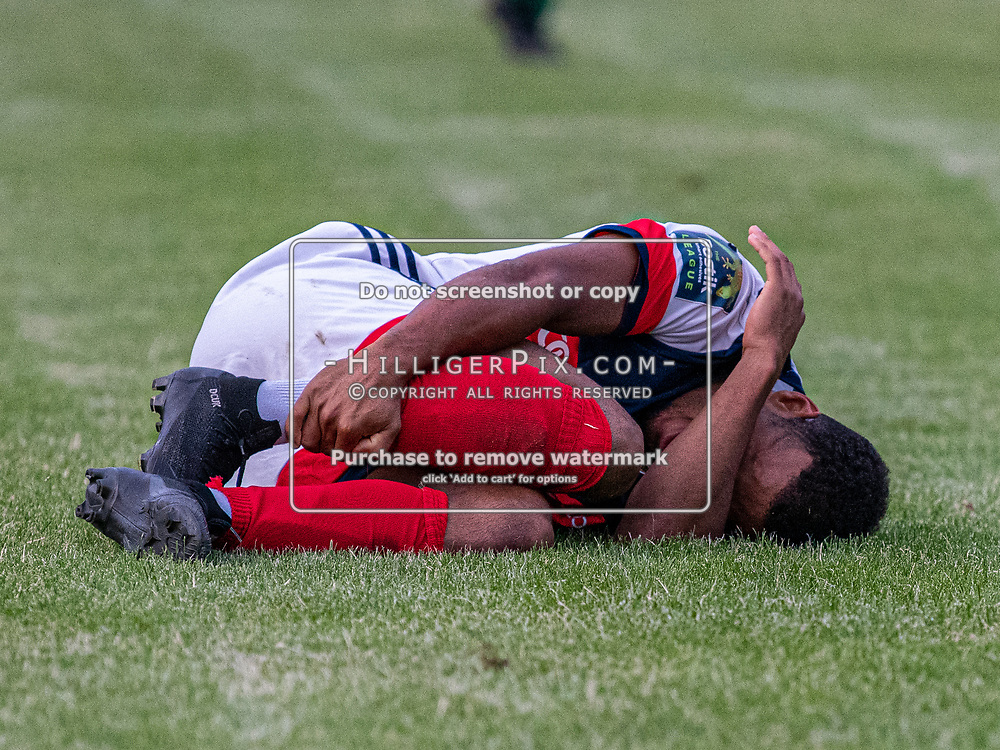 DARTFORD, UK - AUGUST 01: Jerome Federico, of Cray Wanderers FC, lies injured during the pre-season friendly match between Phoenix Sports FC and Cray Wanderers FC at The Mayplace Ground on August 1, 2019 in Dartford, UK. <br /> (Photo: Jon Hilliger)