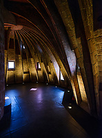 BARCELONA, SPAIN - CIRCA MAY 2018: Catenary arches of La Pedrera, also known as Casa Mila or The Stone Quarry. A famous building in the center of Barcelona designed by Antoni Gaudi.