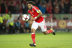October 9, 2017 - Cardiff City, Walles, United Kingdom - Ashley Williams of Wales in action during the FIFA World Cup 2018 Qualifying Round Group D match between Wales and Republic of Ireland at Cardiff City Stadium in Cardiff, Wales, United Kingdom on October 9, 2017  (Credit Image: © Andrew Surma/NurPhoto via ZUMA Press)