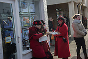 OX BLOOD MOLLY, The Straw Bear Festival, Whittlesey,Peterborough. 17 January 2016<br /> On Plough Tuesday, the day after Plough Monday (the first Monday after Twelfth Night), a man or boy is covered from head to foot in straw and led around the town where  he would dance in exchange for gifts of money, food or beer. The custom was was resurrected by the Whittlesea Society in 1980.