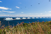Seaplanes and ferries arrive at Whidbey Island in Washington state in this composite time-lapse photograph