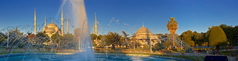 Panorama of The Sultan Ahmed Mosque (Sultanahmet Camii) or Blue Mosque, Istanbul, Turkey. Built from 1609 to 1616 during the rule of Ahmed I. .<br /> <br /> If you prefer to buy from our ALAMY PHOTO LIBRARY  Collection visit : https://www.alamy.com/portfolio/paul-williams-funkystock/blue-mosque-istanbul.html<br /> <br /> Visit our TURKEY PHOTO COLLECTIONS for more photos to download or buy as wall art prints https://funkystock.photoshelter.com/gallery-collection/3f-Pictures-of-Turkey-Turkey-Photos-Images-Fotos/C0000U.hJWkZxAbg