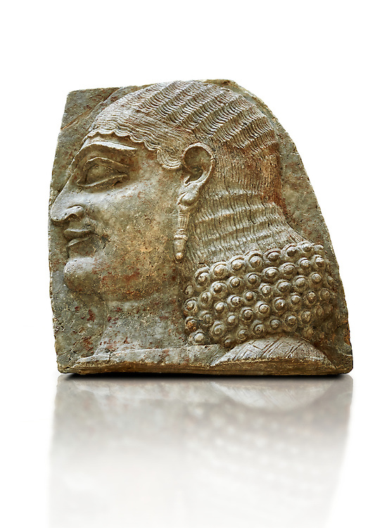 Stone relief sculptured panel of a Servant. From the facade of the throne room,  Inv AO 22196 from Dur Sharrukin the palace of Assyrian king Sargon II at Khorsabad, 713-706 BC.  Louvre Museum Room 4 , Paris .<br /> <br /> If you prefer to buy from our ALAMY PHOTO LIBRARY  Collection visit : https://www.alamy.com/portfolio/paul-williams-funkystock/ancient-assyria-antiquities.html  Refine search by adding background colour, place, subject, museum etc into the LOWER SEARCH WITHIN GALLERY box to <br /> <br /> Visit our ANCIENT ASSYRIAN PHOTO COLLECTIONS for more photos to download or buy as wall art prints https://funkystock.photoshelter.com/gallery-collection/Ancient-Assyrian-Art-Artefacts-Antiquities-Historic-Sites-Pictures-Images-of/C0000cjRqQyJjLag