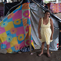 People began to erect makeshift shelters under the bridge in Chamelecón, San Pedro Sula, after losing everything in the double hurricanes of Eta and Iota. Name withheld, permission given to take and use image.
