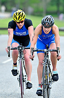 Photo: Paul Greenwood/Richard Lane Photography. Strathclyde Park Elite Triathlon. 17/05/2009. <br />Scotland's Kerry Lang, right, leads England's Jodie Swallow in the road race.