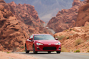 This 2 seat sports car is a joint venture between Toyota and Subaru.  Subaru will market it as the BRZ, while Toyota  will sell it under their Scion brand and will call it the FR-S.  Valley of Fire State Park, near Las Vegas, Nevada.