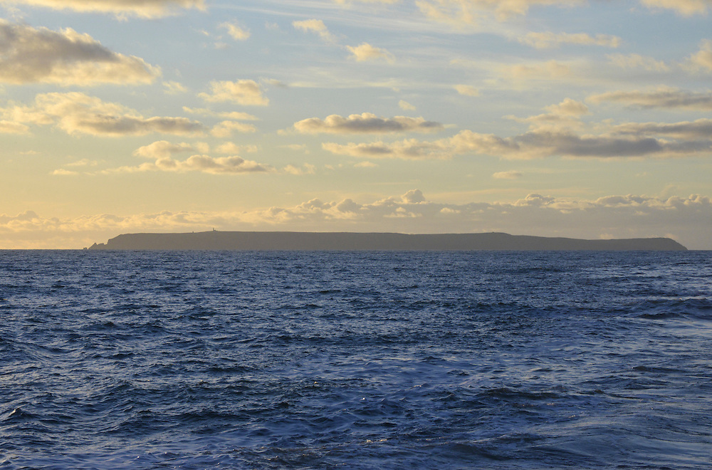 View of Lundy island from the east in late afternoon, Devon.