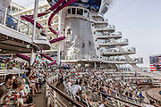 Royal Caribbean, Harmony of the Seas, the AquaTheater is an amphitheater-style space that accommodates more than 700 guests who can experience stunning acrobatics and high-diving aerial performances