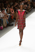 Magenta lace dress with patch and bead details. By Custo Barcelona at the Spring 2013 Fashion Week show in New York.