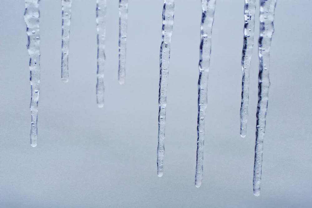 Lone icicles found at the Beaches waterfront, Toronto Canada