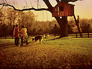Three children and their dog play at their treehouse on a rural farm in North Carolina