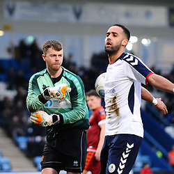 TELFORD COPYRIGHT MIKE SHERIDAN 5/1/2019 - GOAL. Brendon Daniels of AFC Telford celebrates in front of an unimpressed Matthew Gould of Spennymoor Town after he scores from the penalty spot to make it 1-0 during the Vanarama Conference North fixture between AFC Telford United and Spennymoor Town.