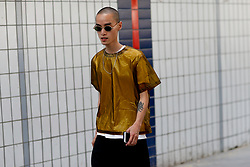Street style, arriving at Acne Spring-Summer 2019 menswear show held at Bercy Popb, in Paris, France, on June 20th, 2018. Photo by Marie-Paola Bertrand-Hillion/ABACAPRESS.COM