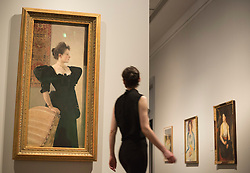 "© Licensed to London News Pictures. 08/10/2013. London, England. Pictured: Portrait of a Lady in Black by Gustav Klimt, c 1894. This autumn, the National Gallery presents the UK's first major exhibition devoted to Viennese portraiture - ""Facing the Modern: The Portrait in Vienna 1900"". From 9 October 2013 to 12 January 2014 portraits by artists such as Gustav Klimt, Oskar Kokoschka, Egon Schiele and Richard Gerstl will be on display. Photo credit: Bettina Strenske/LNP"
