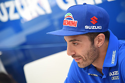 August 9, 2018 - Spielberg, Austria - 29 Italian driver Andrea Iannone of Team Suzuki ECSTAR speak with press on Suzuki ECSTAR Ospitality before Austrian GP weekend in Spielberg, Austria, on August 9, 2018. (Credit Image: © Andrea Diodato/NurPhoto via ZUMA Press)