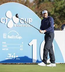 Oct 18, 2018-Jeju, South Korea-Ian Poulter of England action on the 10th tee during the PGA Golf CJ Cup Nine Bridges Round 1 at Nine Bridges Golf Club in Jeju, South Korea.