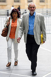 © Licensed to London News Pictures. 10/07/2016. London, UK. Labour Party Leader JEREMY CORBYN arrives at the BBC Broadcasting House in London with his wife LAURA ALVAREZ, to appear on the Andrew Marr Show on July 10, 2016.  Photo credit: Ben Cawthra/LNP