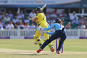 Alyssa Healy of Australia (77) flicks the ball for four runs during the Royal London Women's One Day International match between England Women Cricket and Australia at the Fischer County Ground, Grace Road, Leicester, United Kingdom on 4 July 2019.