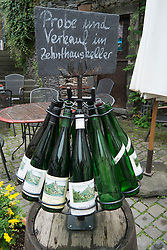 Wine bottles in historic Beilstein village on River Mosel in Germany