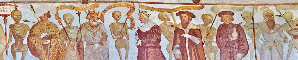 """The Church of San Vigilio in Pinzolo and its fresco paintings """"Dance of Death"""" painted by Simone Baschenis of Averaria in1539, Pinzolo, Trentino, Italy.<br /> <br /> The procession continues with a depiction of a king then nobility followed by knights and soldiers and a beggar man with no legs. Between each figure are skeletons holding bows and arrows, banners with writings on them or a shovel to dig a grave. .<br /> <br /> Visit our MEDIEVAL ART PHOTO COLLECTIONS for more   photos  to download or buy as prints https://funkystock.photoshelter.com/gallery-collection/Medieval-Middle-Ages-Art-Artefacts-Antiquities-Pictures-Images-of/C0000YpKXiAHnG2k<br /> If you prefer to buy from our ALAMY PHOTO LIBRARY  Collection visit : https://www.alamy.com/portfolio/paul-williams-funkystock/san-vigilio-pinzolo-dance-of-death.html"""