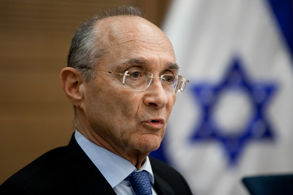 Israel's National Infrastructure Minister Uzi Landau attends a session of the Economic Affairs Committee at the Knesset, Israel's parliament in Jerusalem, on December 13, 2011.