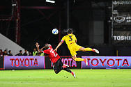 NONTHABURI, THAILAND - JULY 02: Heberty of SCG Muangthong United and Lee Wonyoung of Pattaya United in action during the first half of the Thai League: SCG Muangthong United vs Pattaya United at SCG Stadium, Nonthaburi, Thailand on July 02, 2017.<br /> .<br /> .<br /> .<br /> (Photo by: Naratip Golf Srisupab/SEALs Sports Images)<br /> .<br /> Any image use must include a mandatory credit line adjacent to the content which should read: Naratip Golf Srisupab/SEALs Sports Images