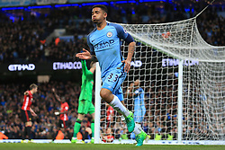 27th April 2017 - Premier League - Manchester City v Manchester United - Gabriel Jesus of Man City celebrates before realising his goal had been disallowed - Photo: Simon Stacpoole / Offside.