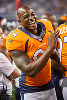 28 AUG 2014: Denver Broncos defensive end DeMarcus Ware (94) laughs on the sideline during the final NFL American Football Herren USA preseason game between the Denver Broncos and Dallas Cowboys at AT&T Stadium in Arlington, TX. NFL American Football Herren USA AUG 28 Preseason - Broncos at Cowboys PUBLICATIONxINxGERxSUIxAUTxHUNxRUSxSWExNORxONLY Icon140828695<br /> <br /> 28 Aug 2014 Denver Broncos Defensive End Demarcus Goods 94 laughs ON The sideline during The Final NFL American Football men USA Preseason Game between The Denver Broncos and Dallas Cowboys AT AT Stage in Arlington TX NFL American Football men USA Aug 28 Preseason Broncos AT Cowboys PUBLICATIONxINxGERxSUIxAUTxHUNxRUSxSWExNORxONLY