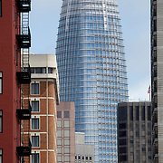 San Francisco CA vertical image daytime view eastward in Union Square toward Salesforce Tower