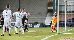 Falkirk's David McCracken scoring their second goal.<br /> Raith Rovers 2 v 4 Falkirk, Scottish Championship game today at Starks Park.<br /> © Michael Schofield.