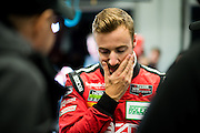 January 22-25, 2015: Rolex 24 hour. 70, Mazda, P, James Hinchcliffe reacts after the Mazda retired.
