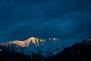 The last sunlight of 2020 hitting the snow covered peak of the Canigou, a mountain on the border of France and Spain - or northern and southern Catalonia. The Canigou is just 50km or so from the Mediterranean, at 2784m high.