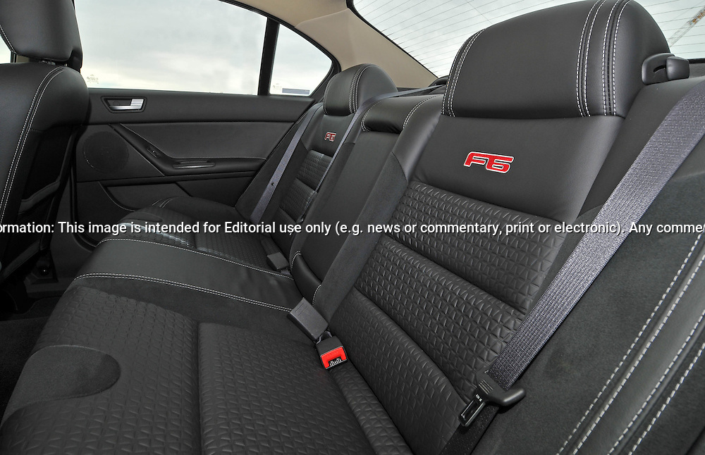 2009 Ford FPV F6 Photo Shoot in Dash green.Rear/Back seat.Docklands, Melbourne, Victoria .24th of May 2009.(C) Joel Strickland Photographics.Use information: This image is intended for Editorial use only (e.g. news or commentary, print or electronic). Any commercial or promotional use requires additional clearance.