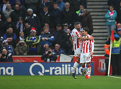 Bojan Krkic of Stoke City (R) celebrates scoring his sides first goal from the penalty spot - Mandatory by-line: Jack Phillips/JMP - 17/12/2016 - FOOTBALL - Bet365 Stadium - Stoke-on-Trent, England - Stoke City v Leicester City - Premier League