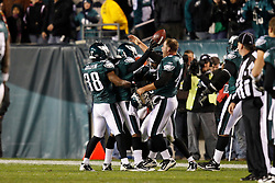 Philadelphia Eagles celebrate with Asante Samuel after Samuel caught an interception during the NFL Game between the Indianapolis Colts and the Philadelphia Eagles. The Eagles won 26-24 at Lincoln Financial Field in Philadelphia, Pennsylvania on Sunday November 7th 2010. (Photo By Brian Garfinkel)