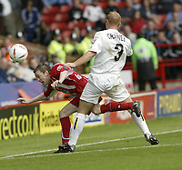 Fotball<br /> Foto: Fotosports/Digitalsport<br /> NORWAY ONLY<br /> <br /> Date: 29/08/2004<br /> <br /> Sheffield United v Leeds United<br /> Coca Cola Championship<br /> <br /> Sheffield's Leigh Bromby and Leeds Stephen Craney
