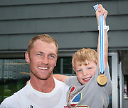 Amsterdam. NETHERLANDS.   GBR M4-,  Gold Medalist, Men's Four. Bow, left  Alex and Jasper GREGORY,  De Bosbaan Rowing Course, venue for the 2014 FISA  World Rowing. Championships.  . 14:04:12  Saturday  30/08/2014  [Mandatory Credit; Peter Spurrier/Intersport-images]