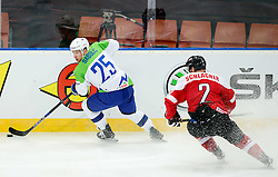 Robert Sabolic of Slovenia vs Markus Schlacher of Austria in action during ice hockey match between National Teams of Austria and Slovenia in 5th Round of 2016 IIHF Ice Hockey World Championship Division 1 - Group A, on April 29, 2016 in Spodek Arena, Katowice, Poland. Photo by Marek Piuyzs / Sportida