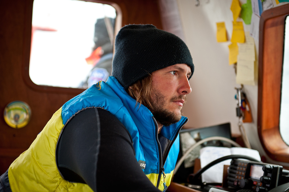 Captain Daniel Gavrilov, 27, in the cockpit of the Peter 1. Gavrilov and his crew were the first to circumnavigate the Arctic Ocean in one season without the help of an icebreaker.