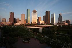 Downtown Houston, Texas skyline with park at dusk.