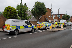 © Licensed to London News Pictures. 04/07/2020. London, UK. Police vehicles parked on Roman Way. Metropolitan Police Service officers were called at 15:20BST on Saturday, 4 July to Roman Way N7 following reports of shots fired. Officers attended with London Ambulance Service (LAS) and found a man, believed to be aged in his early 20s, suffering from gunshot injuries. Despite their best efforts, he was pronounced dead at the scene. Photo credit: Peter Manning/LNP
