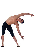 caucasian man  gymnastic  stretching isolated studio on white background