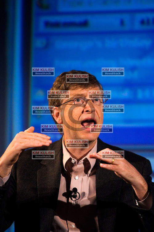 Microsoft Corporation Chairman and Chief Software Architect Bill Gates, during press announcement about  a strategic alliance to expand the smartphone market with a new line of Treo smartphones from Verizon Wireless national wireless broadband network at a news conference in San Francisco September 26, 2005. Photo by Kim Kulish
