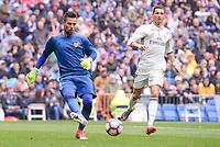 Real Madrid's Cristiano Ronaldo and Valencia CF's Diego Alves during La Liga match between Real Madrid and Valencia CF at Santiago Bernabeu Stadium in Madrid, April 29, 2017. Spain.<br /> (ALTERPHOTOS/BorjaB.Hojas)