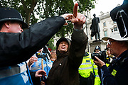 Thousands turned out to protest against US President Trumps visit to London, June 4th 2019, London, United Kingdom. A right wing pro-Trump protester is lead away by police.