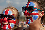 London, UK. Thursday 9th August 2012. London 2012 Olympic Games Park in Stratford. Fans of Team GB with Union Jack flag face paint. Patriotism seems to have taken a huge surge during the games.