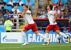 MOSCOW, June 19, 2018  Jan Bednarek (L) of Poland celebrates scoring during a Group H match between Poland and Senegal at the 2018 FIFA World Cup in Moscow, Russia, June 19, 2018. Senegal won 2-1. (Credit Image: © Ye Pingfan/Xinhua via ZUMA Wire)