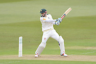 Alex Hales cuts during his first inning of of the season during the Specsavers County Champ Div 1 match between Nottinghamshire County Cricket Club and Yorkshire County Cricket Club at Trent Bridge, West Bridgford, United Kingdon on 1 May 2016. Photo by Simon Trafford.